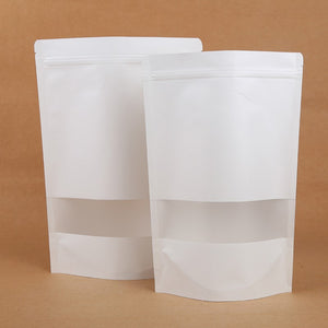 White Kraft Stand Up Pouch (zip lock)
