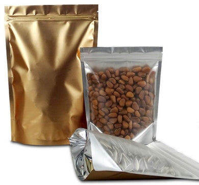 Huge range of clearfront, gold foil back stand up pouches with ziplock. Our stand up pouches are available in many sizes.