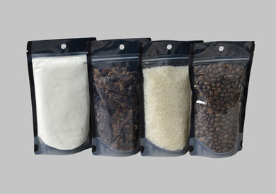 Black stand up pouch. Our clear front and black back stand up food pouches are very popular