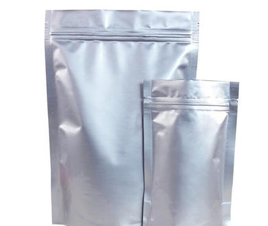 Silver foil stand up pouch is available in many sizes. Premium quality silver food pouch with ziplock