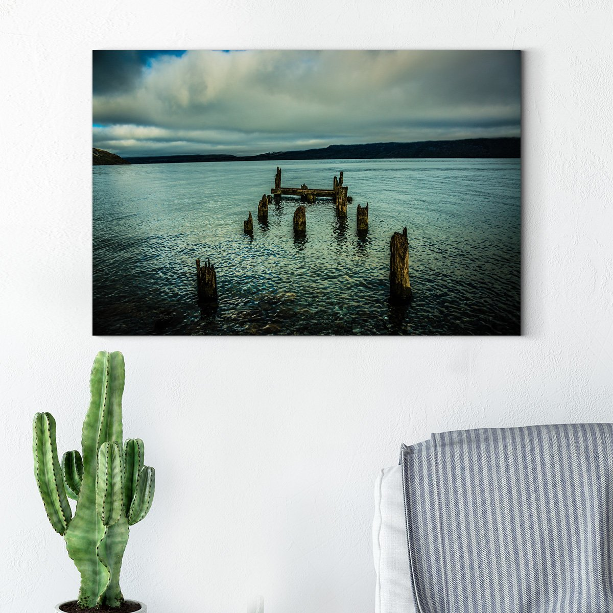 Time Lapse Quiet Beach Ocean view Modern Art Living Room 001