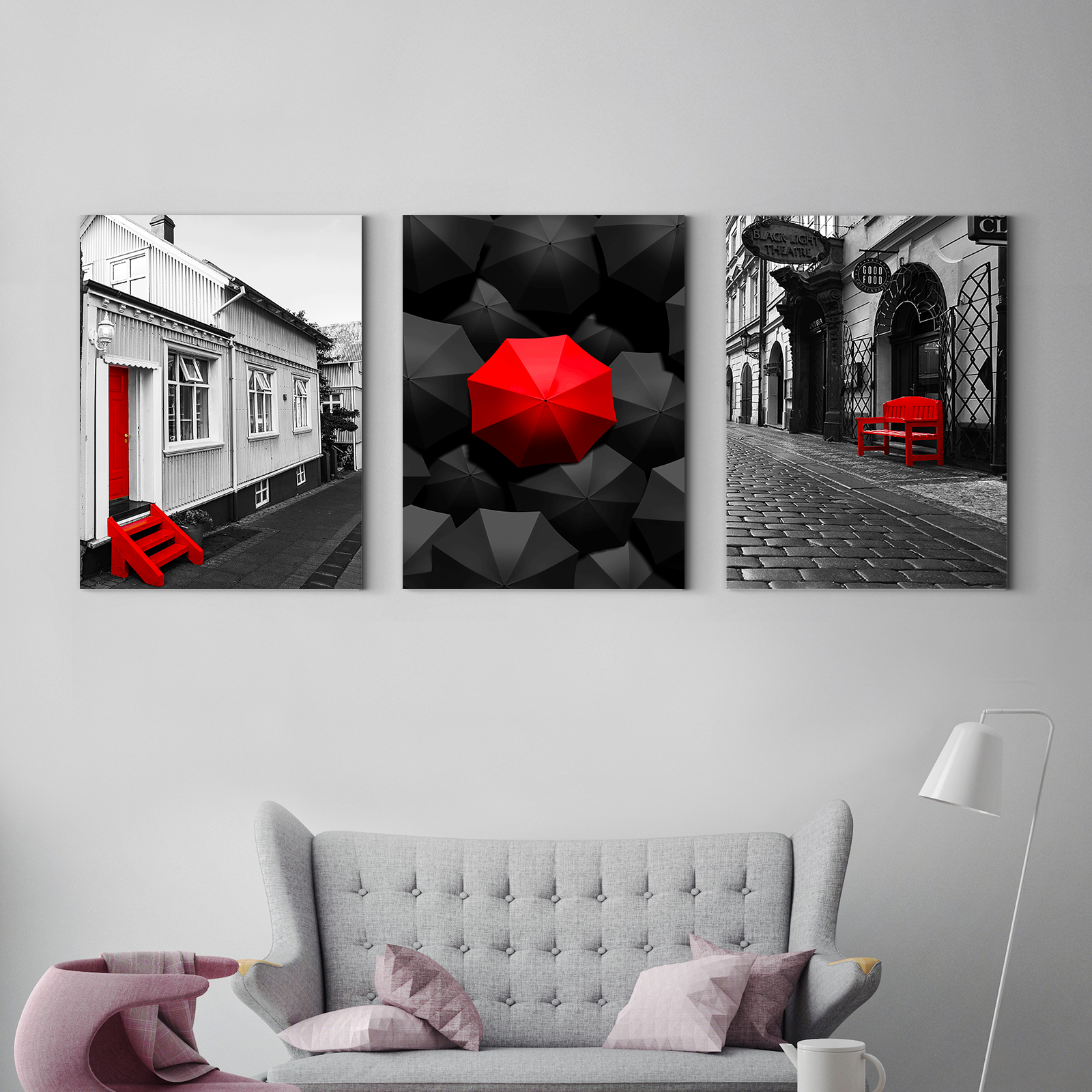 Red and black street architectural Multi Panel Wall Art 001