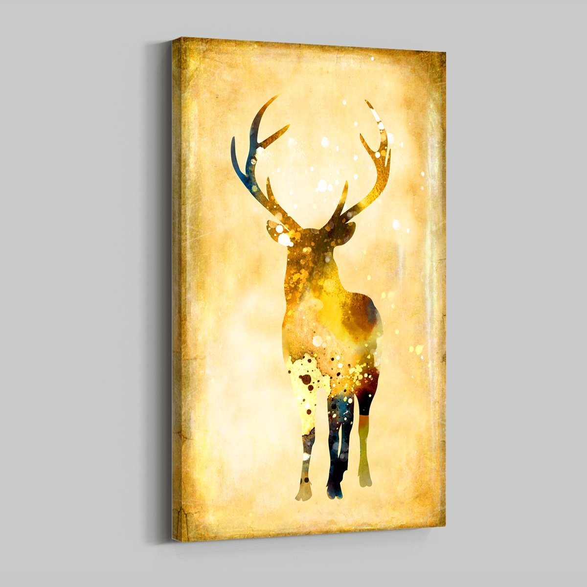 Gold rich deer animal decoration painting living room - Multi Panel Wall Art