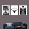 Black and white modern Multi Panel Wall Art 001