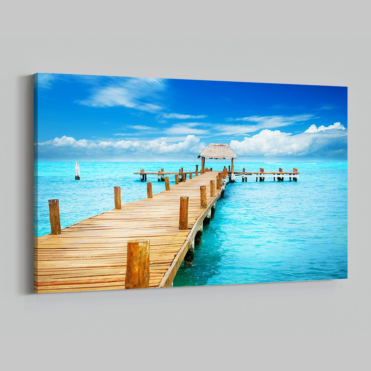 Tropical Beach Dock Ocean View Time Lapse Modern Art Living Room 010