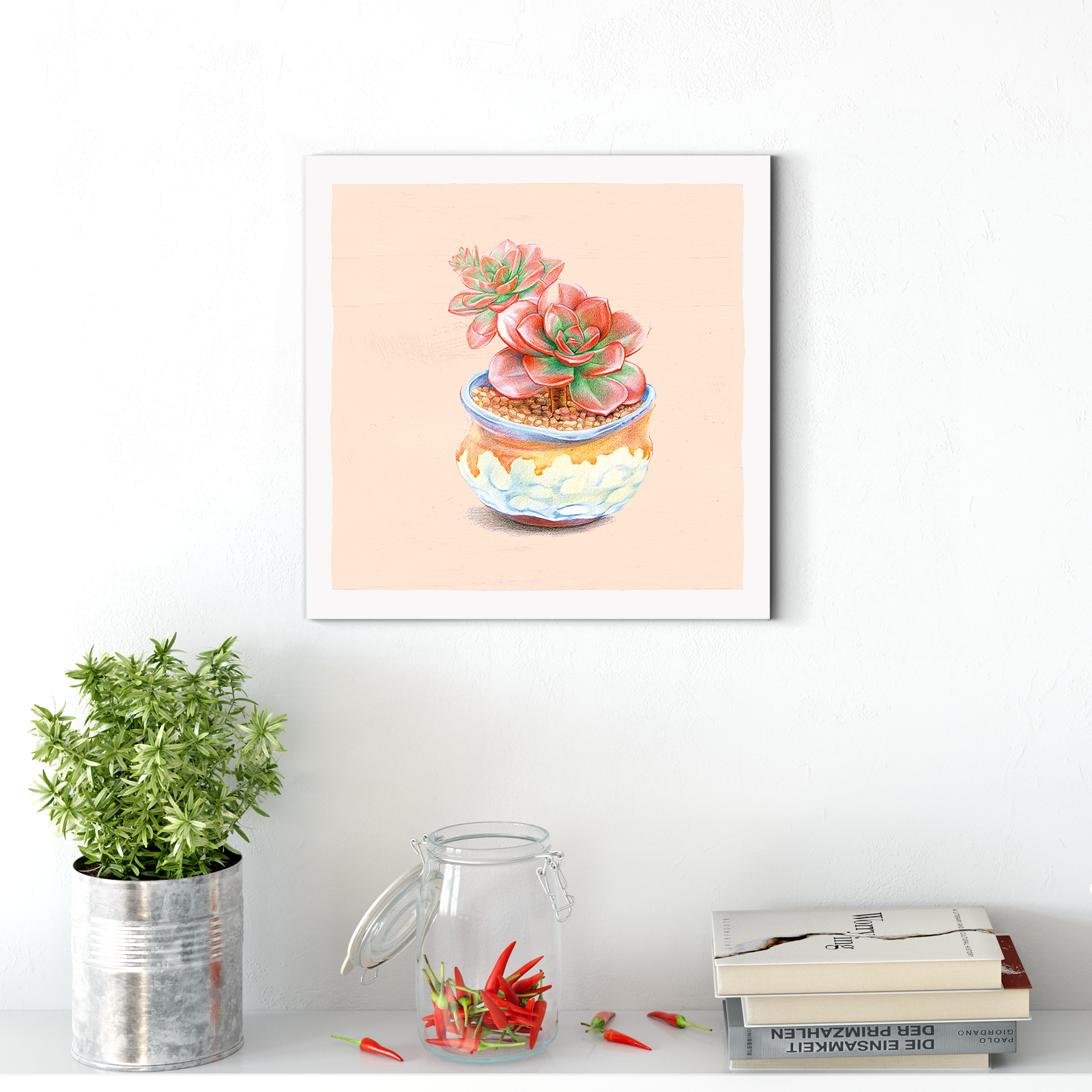 Beautiful succulent flower plant decorative painting 001