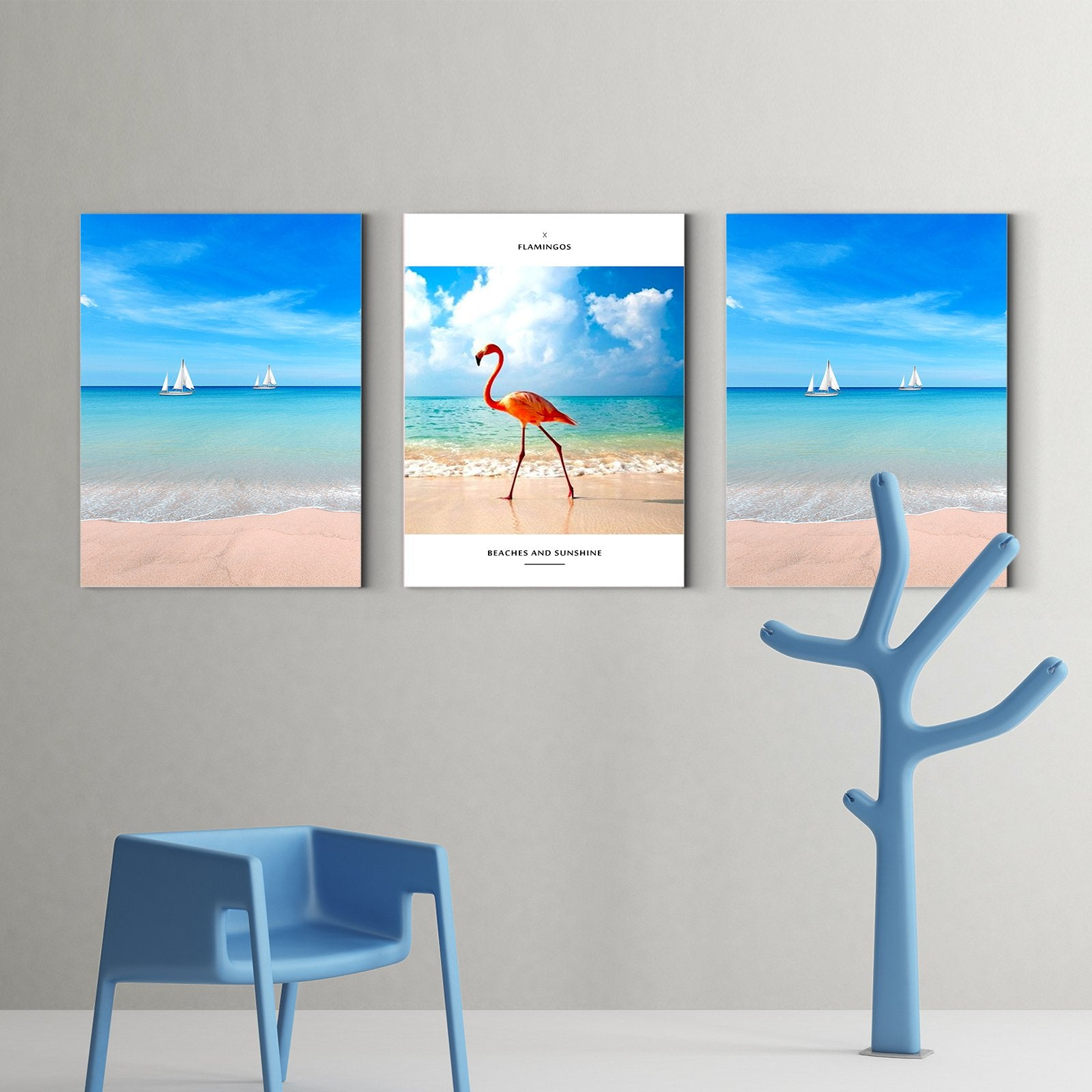 Flamingo on the beach - animal decorative painting - living room-Multi Panel Wall Art013