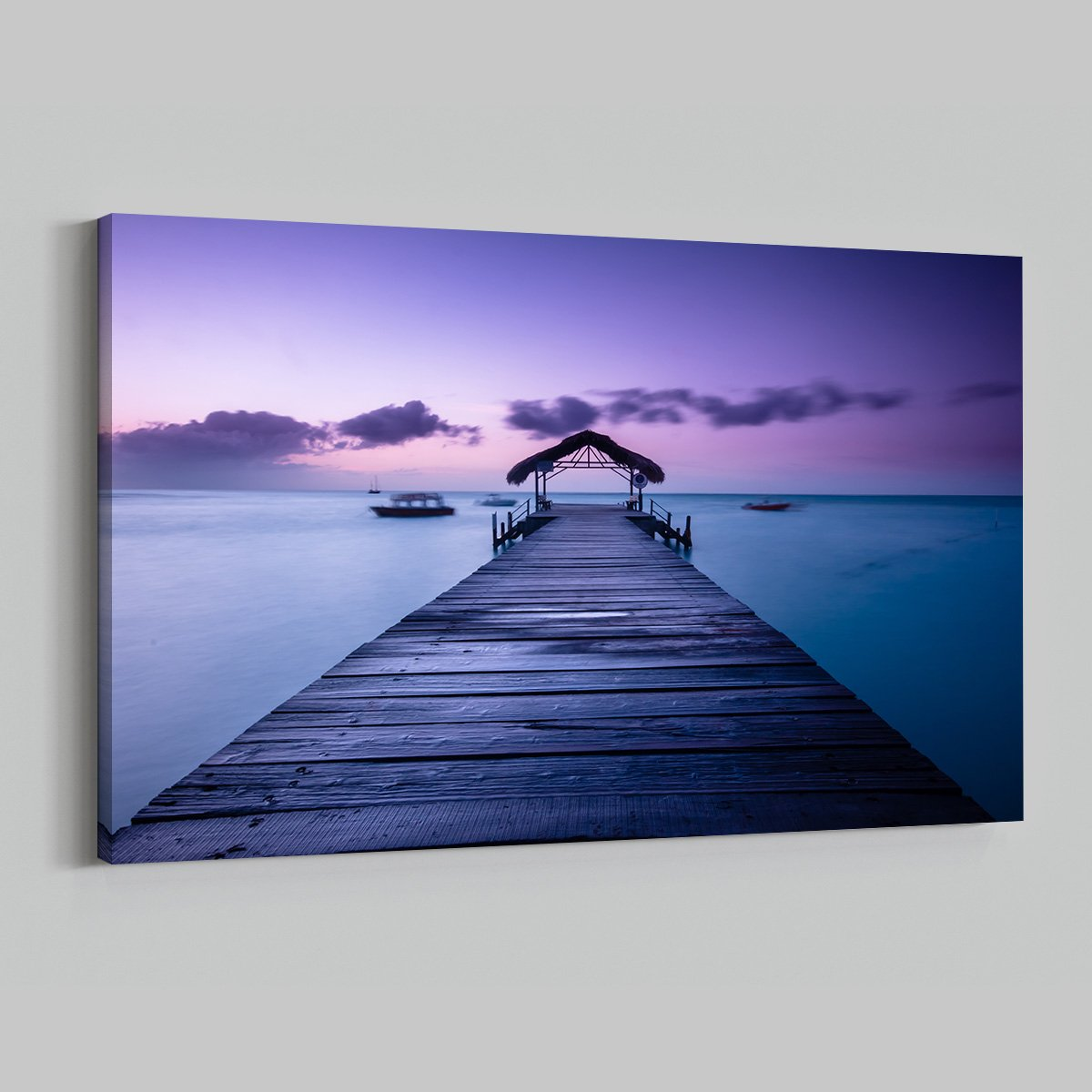 Sunset Beach Dock Ocean View Time Lapse Modern Art Living Room 014