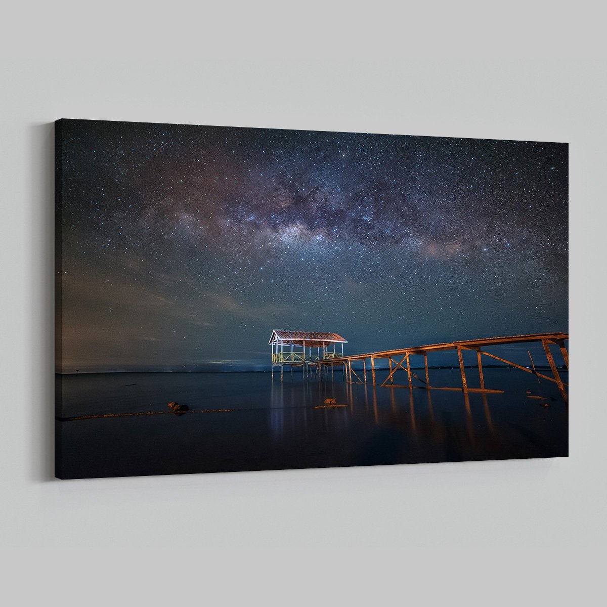 Starry Sky Beach Dock Ocean Night View Time Lapse Modern Art Living Room