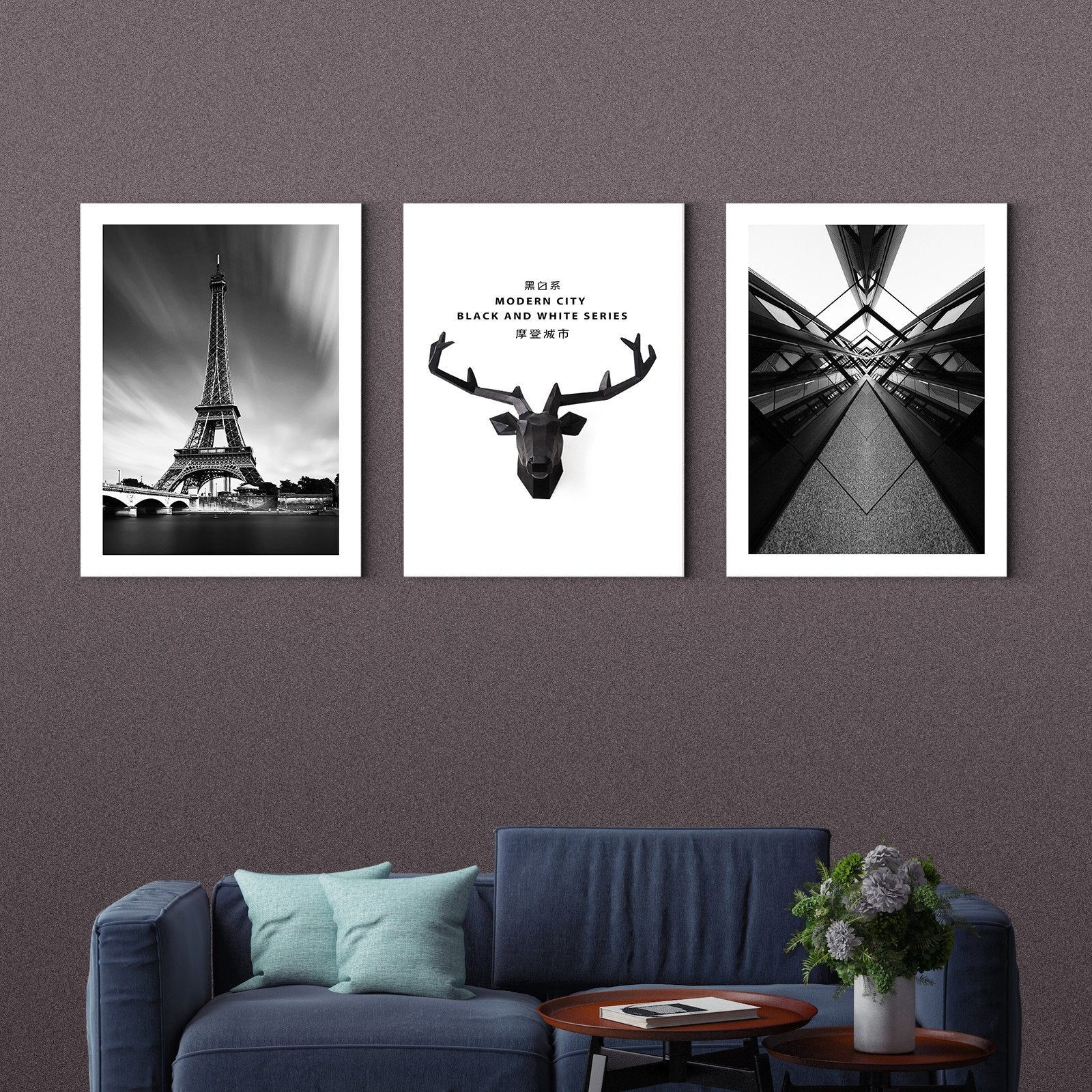 Modern urban in black and white - Art Deco painting - Living room-Multi Panel Wall Art019