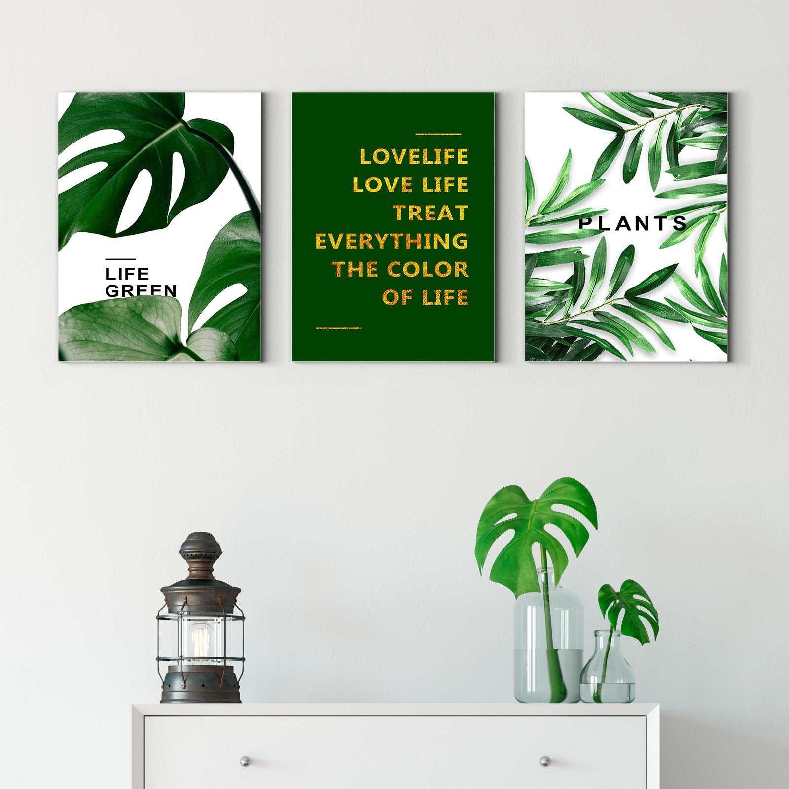 Green life - plant decorative painting - living room-Multi Panel Wall Art022