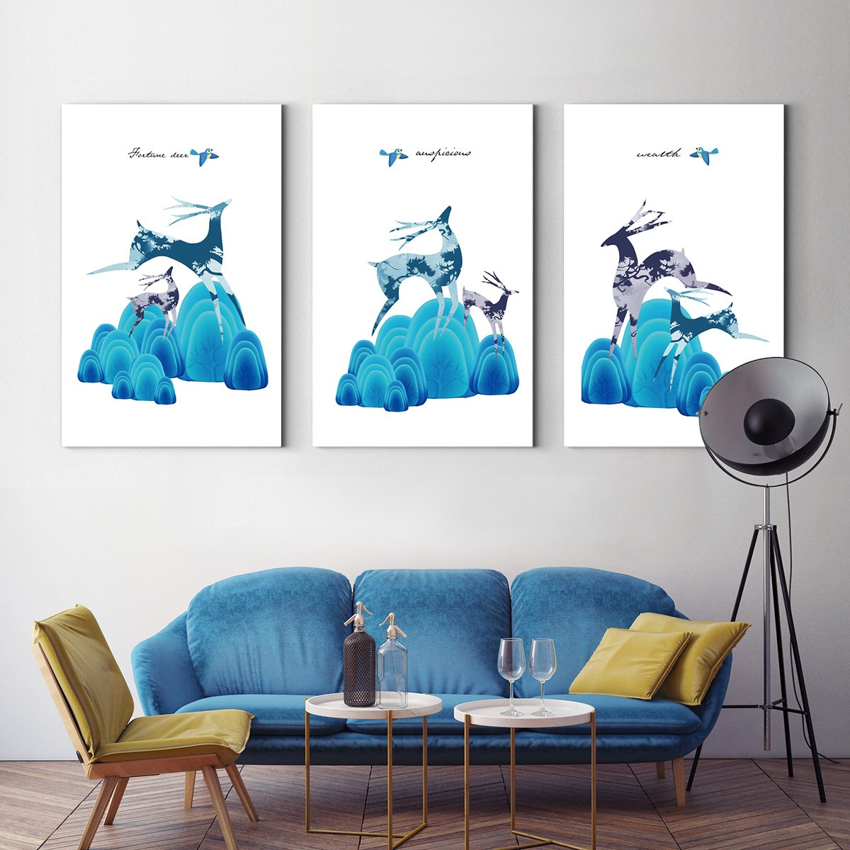 Nordic blue deer - animal decoration painting for living room