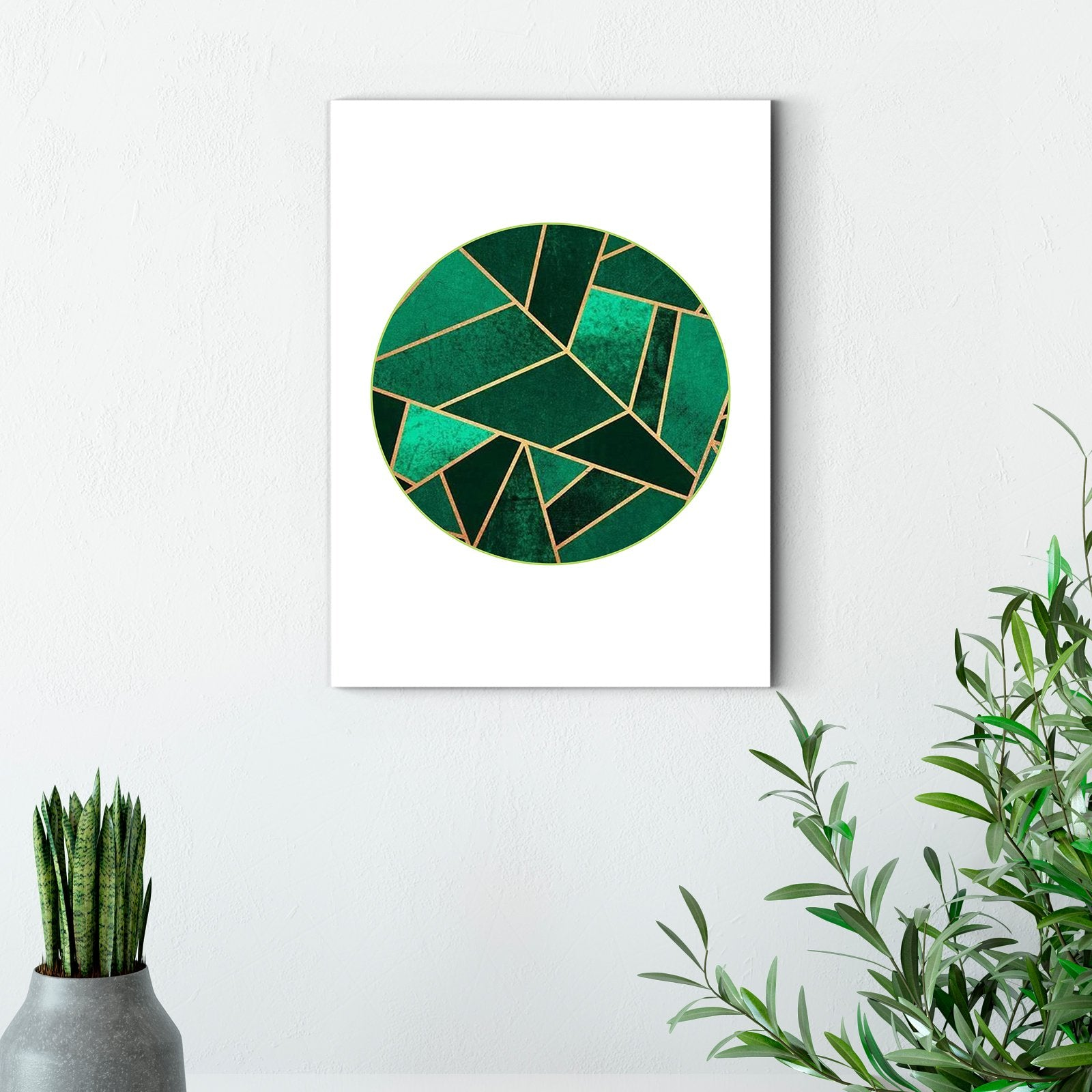 Round green - plant decorative painting - living room-Multi Panel Wall Art029