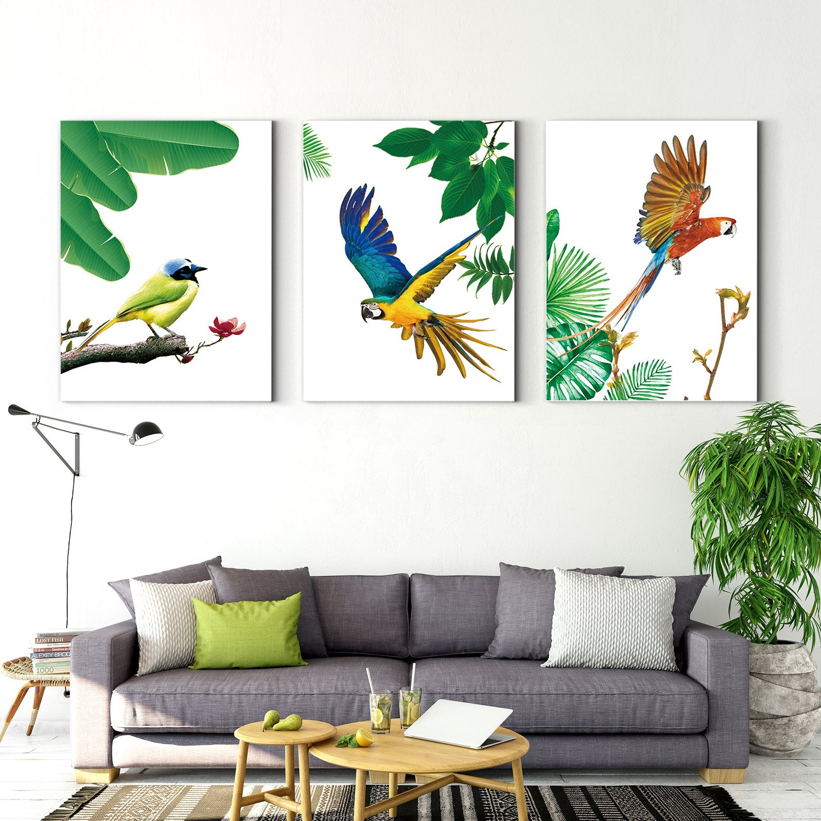 Flying Parrot - Animal Decorative Painting - Living Room-Multi Panel Wall Art030B