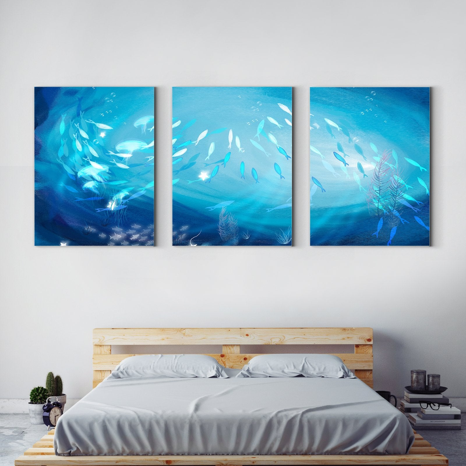 Fish-Animal Decorative Painting in the Deep Sea - Living Room-Multi Panel Wall Art032