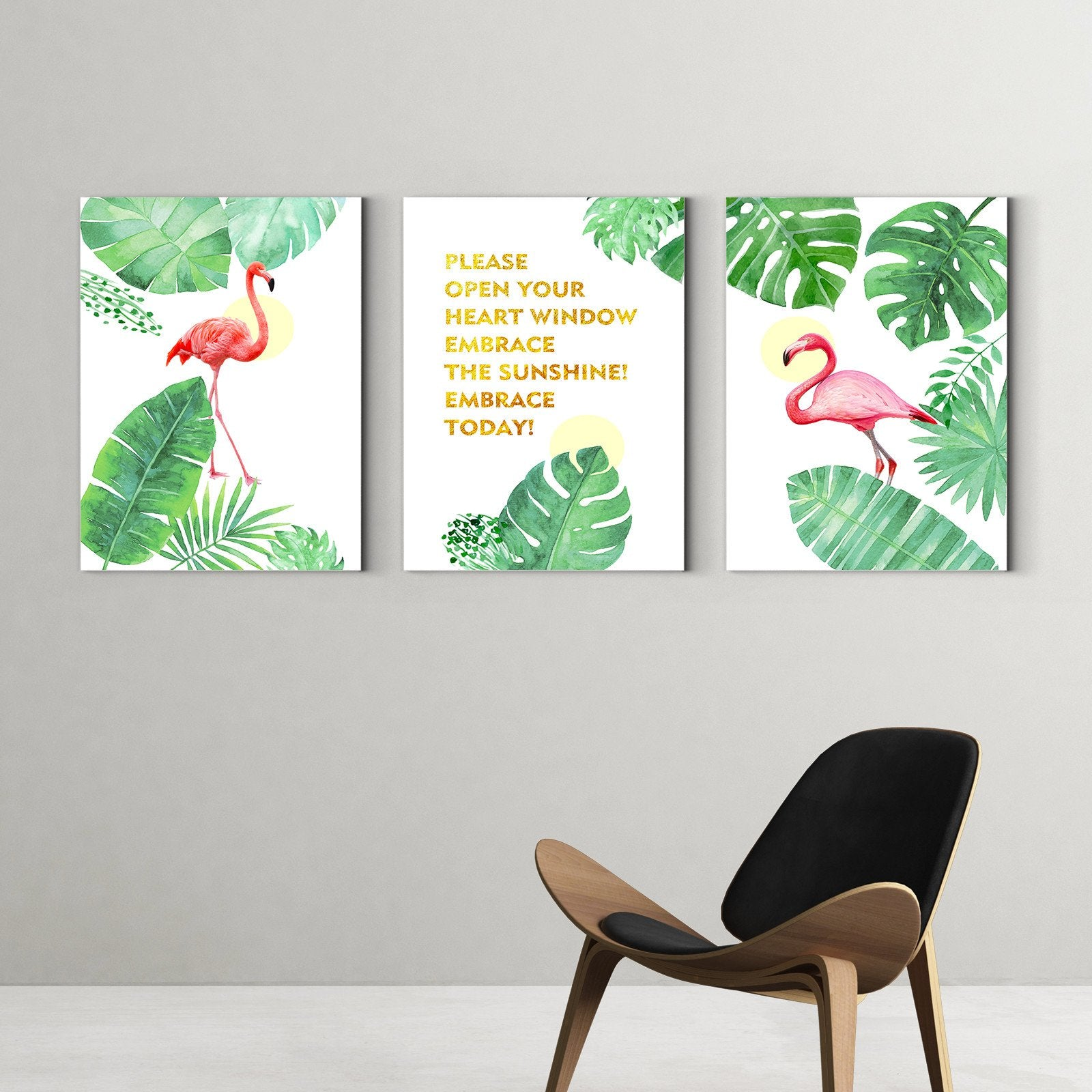 Walking flamingo - animal decorative painting - living room-Multi Panel Wall Art033