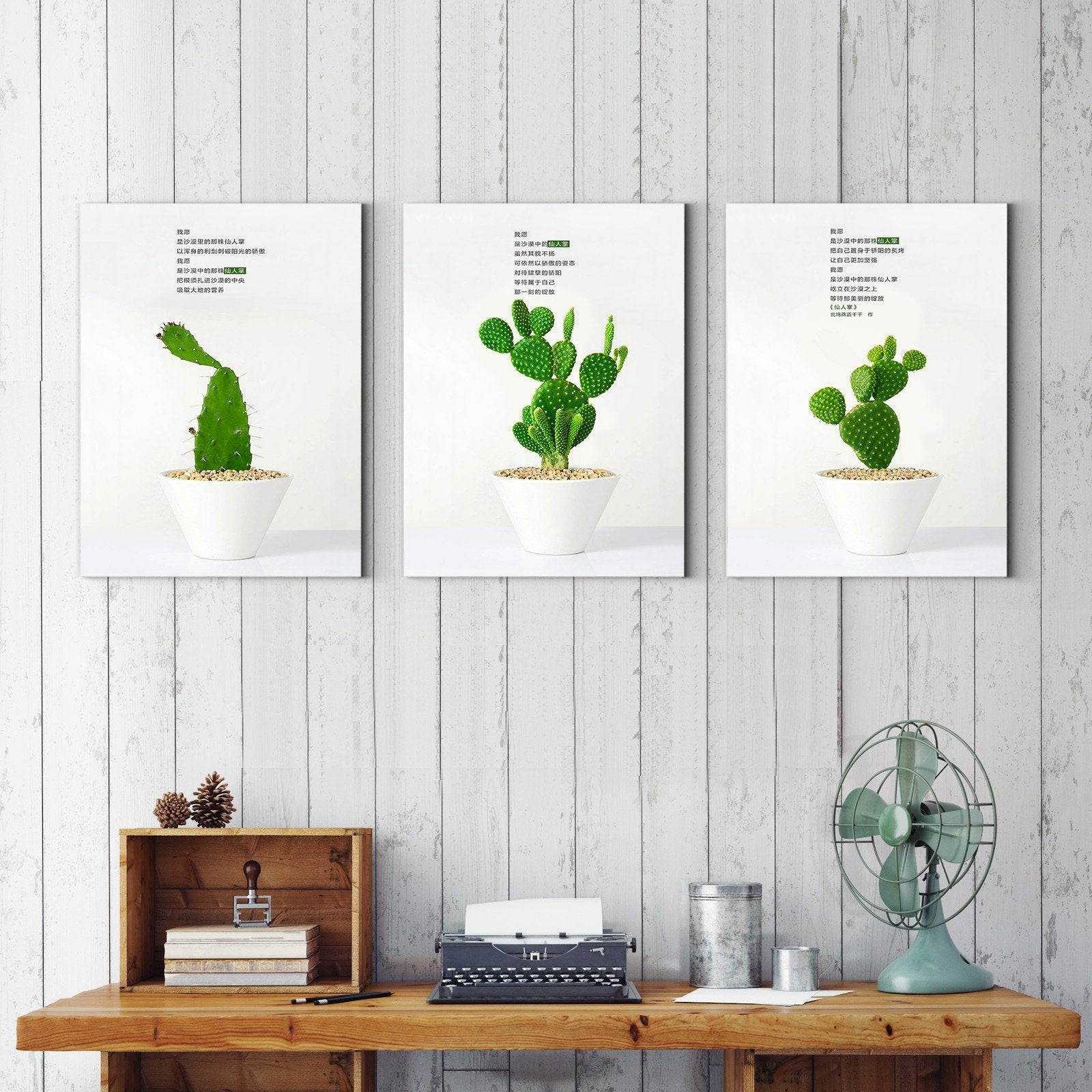 Cactus pots - plant decorative painting - living room-Multi Panel Wall Art038