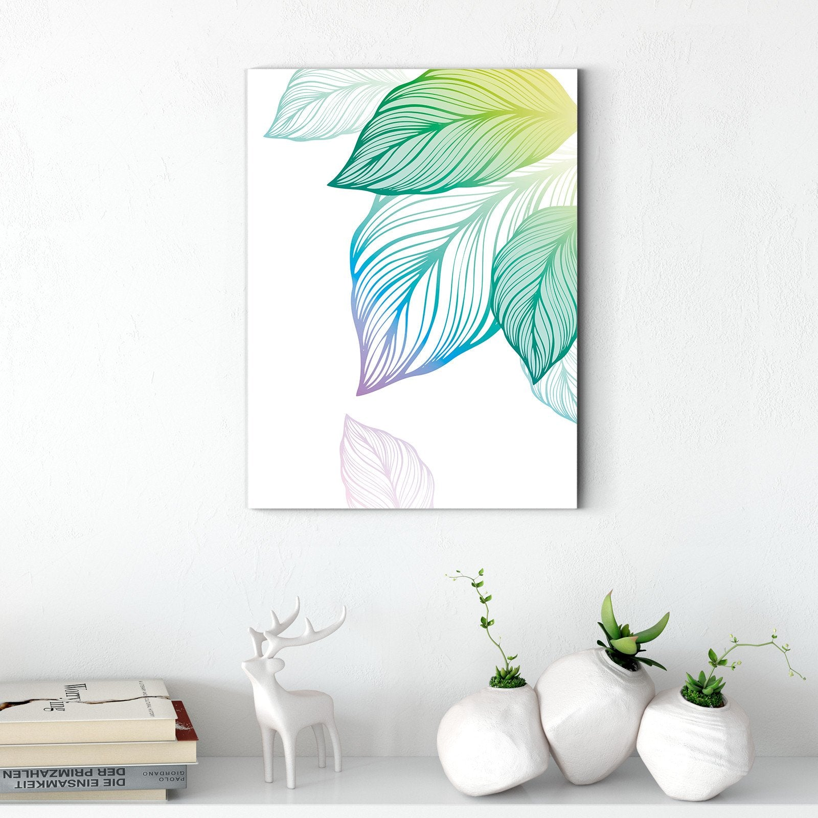 Colorful leaves - plant decorative painting - living room-Multi Panel Wall Art040