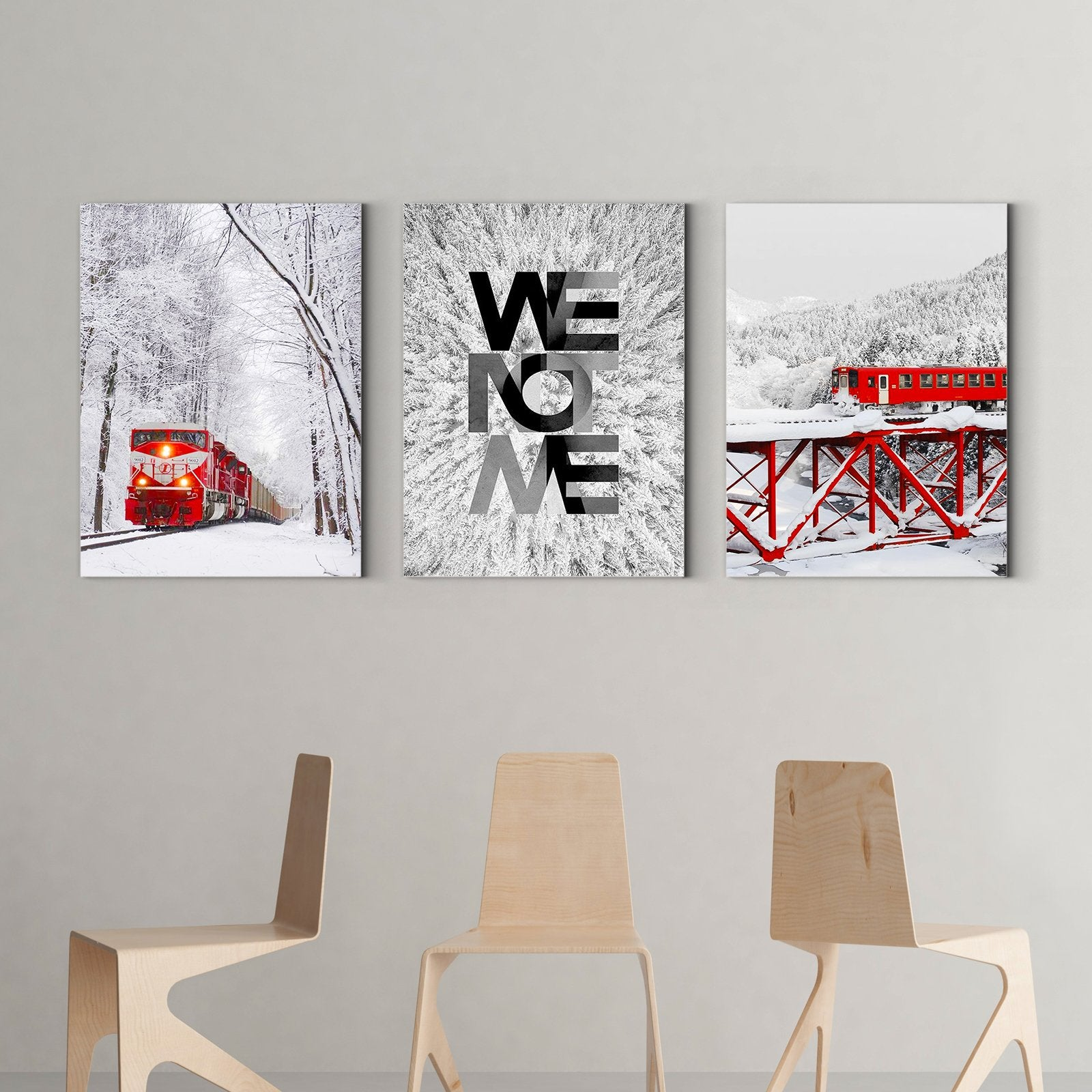 Red Train in the Snow - Art Deco Painting - Living Room-Multi Panel Wall Art041