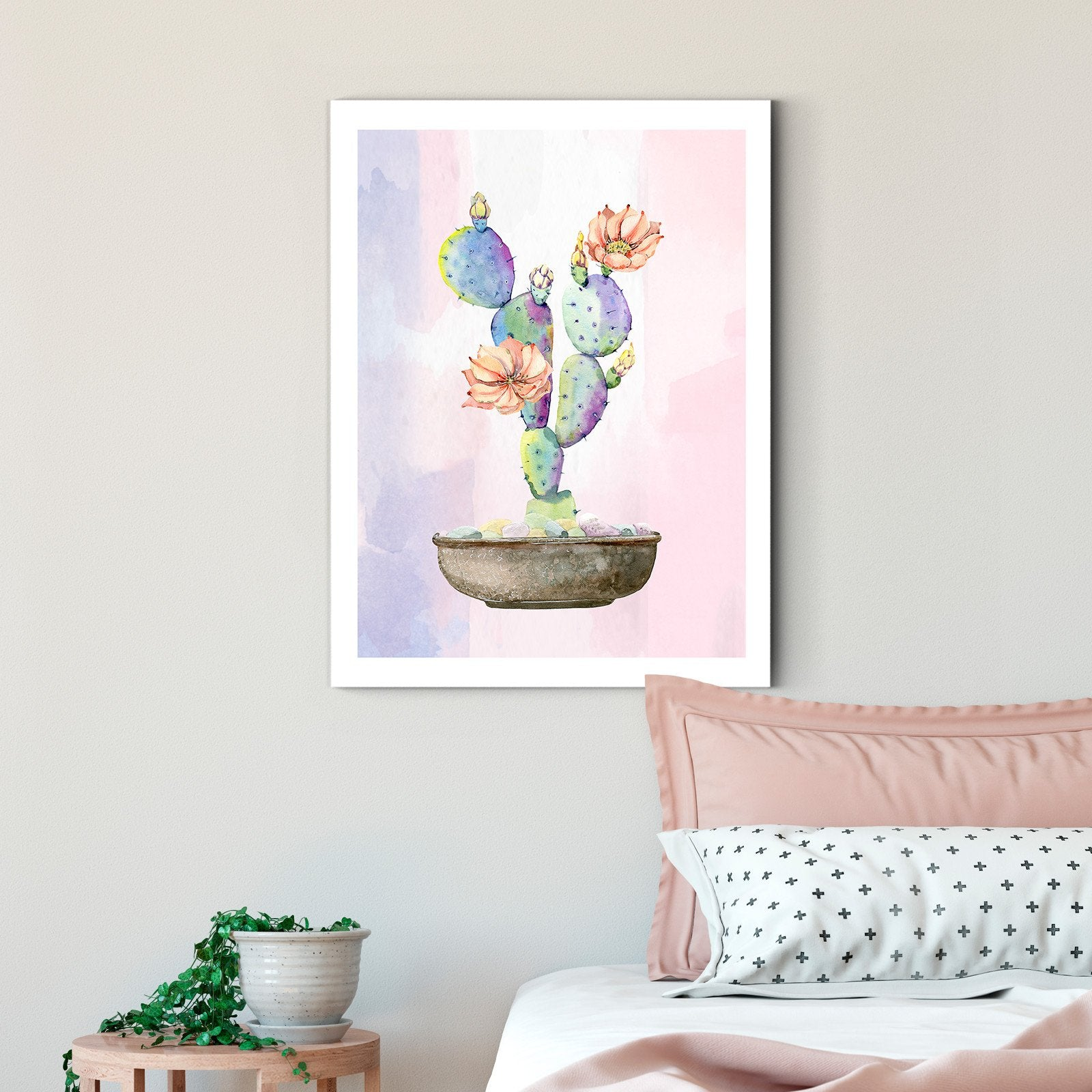 Cartoon Pink Cactus - Plant Decoration Painting - Living Room-Multi Panel Wall Art043