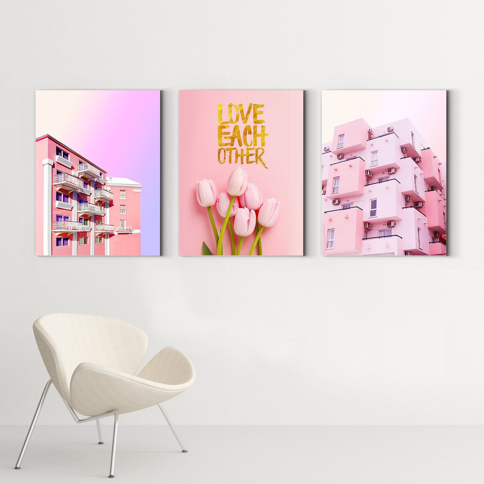 Pink House - Landscape Decoration Painting - Living Room-Multi Panel Wall Art046