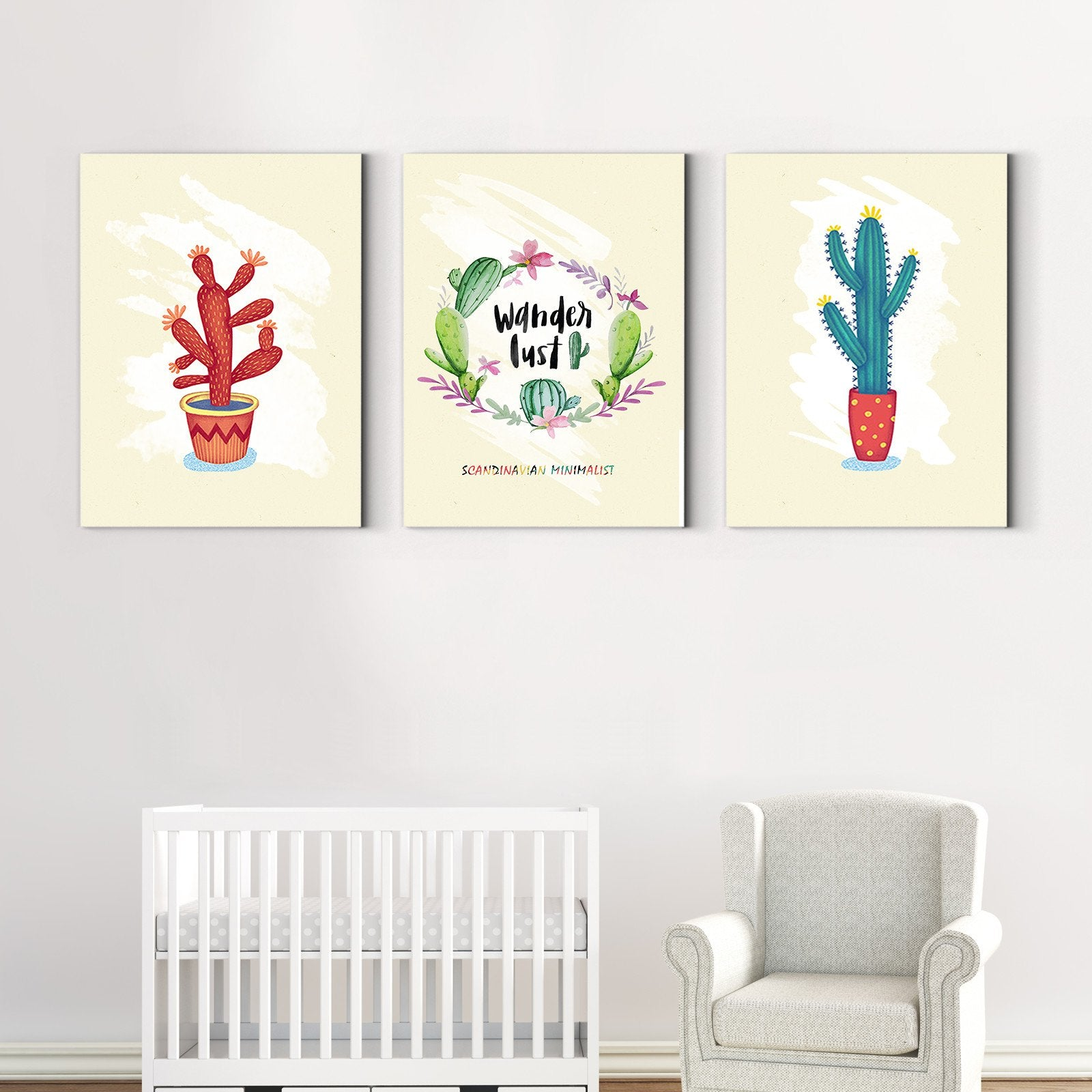 Warm yellow cactus - plant decorative painting - living room-Multi Panel Wall Art047