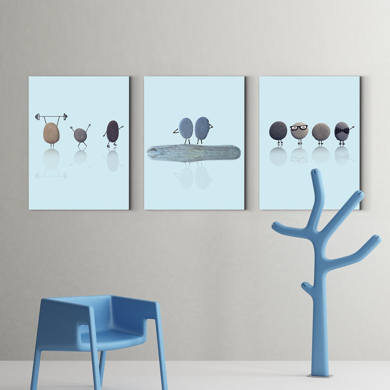 Happy life of small stones - physical decoration painting - living room-Multi Panel Wall Art053