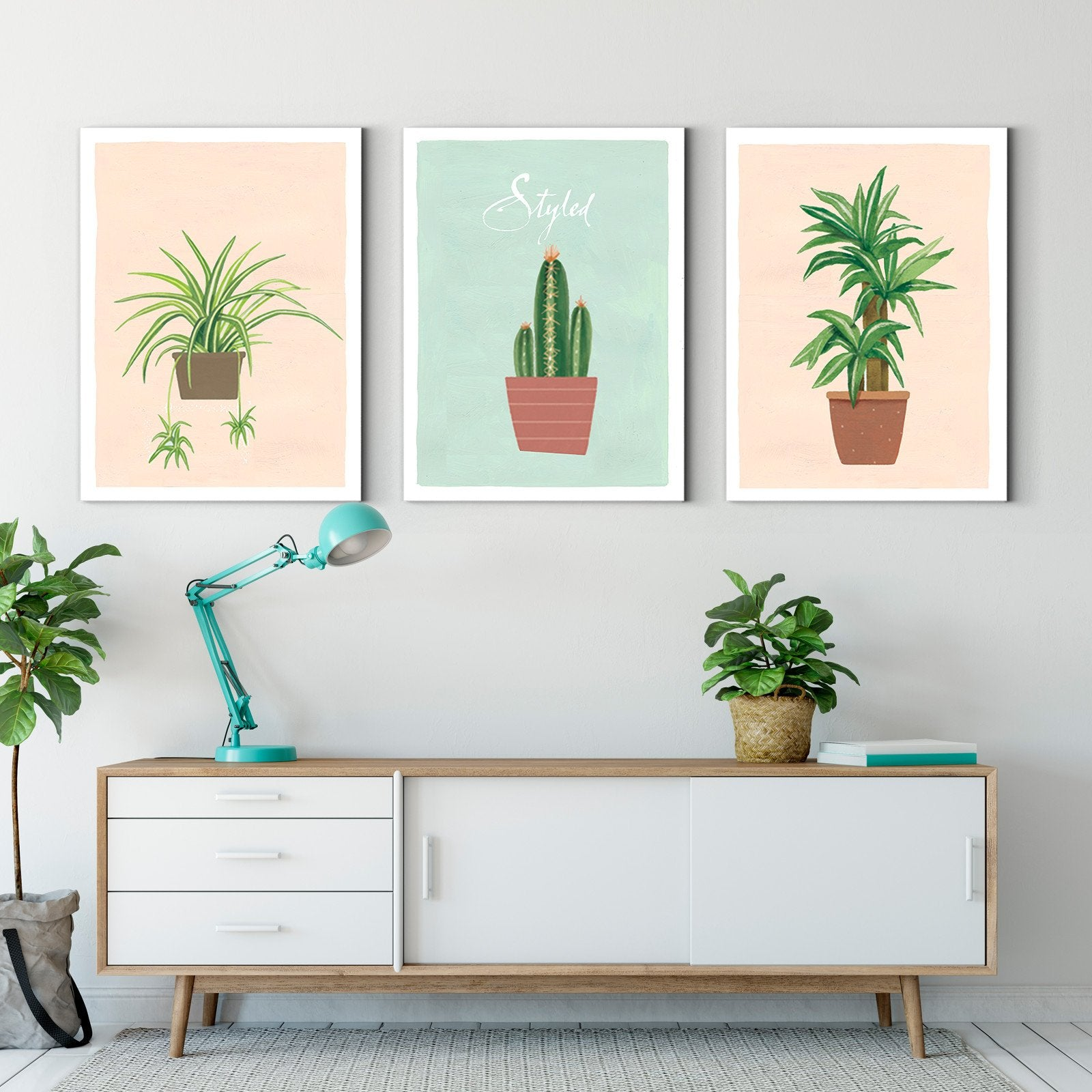 Nordic style small potted plants - plant decorative painting - living room-Multi Panel Wall Art060