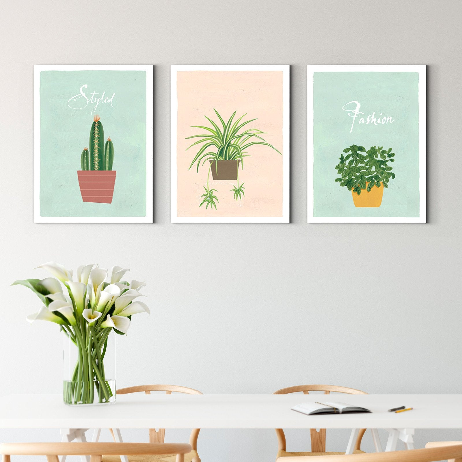 Nordic style small potted plants - plant decorative painting - living room-Multi Panel Wall Art060B