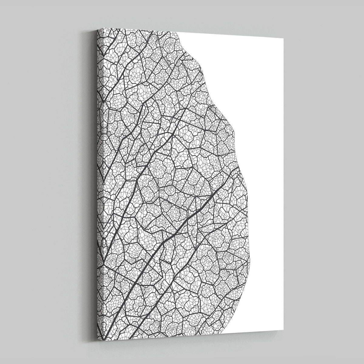 Modern black and white - abstract decorative painting - living room - leaves
