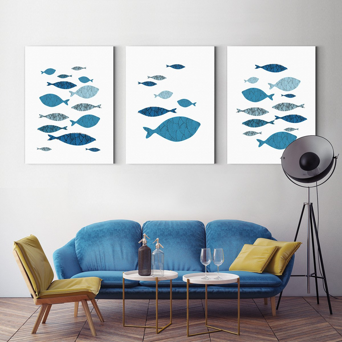 Long fish animal decoration painting living room - Multi Panel Wall Art