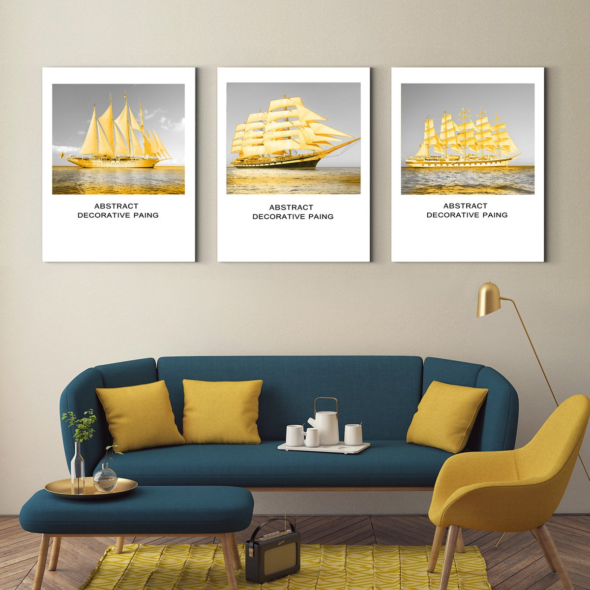 Golden boat - landscape painting for living room