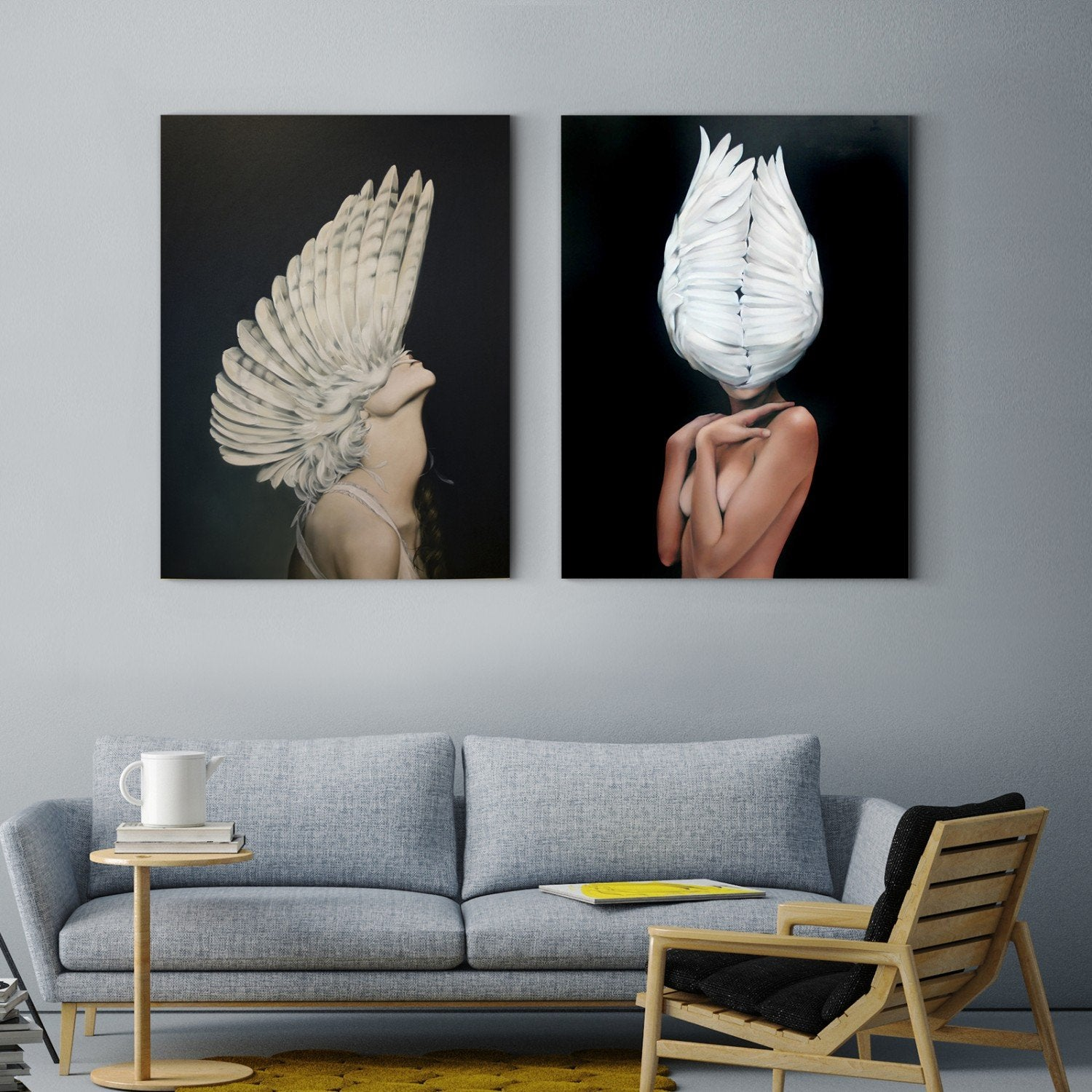 Black and white feathers and a sexy woman persona Multi Panel Stretched Canvas 20