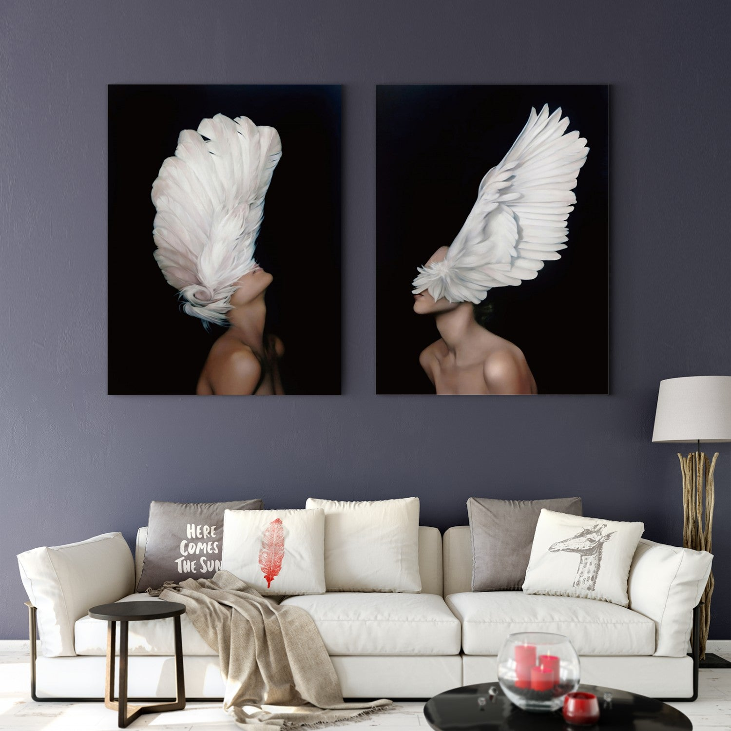 White wings and sexy woman in black and white characters Multi Panel Decoration Print 23