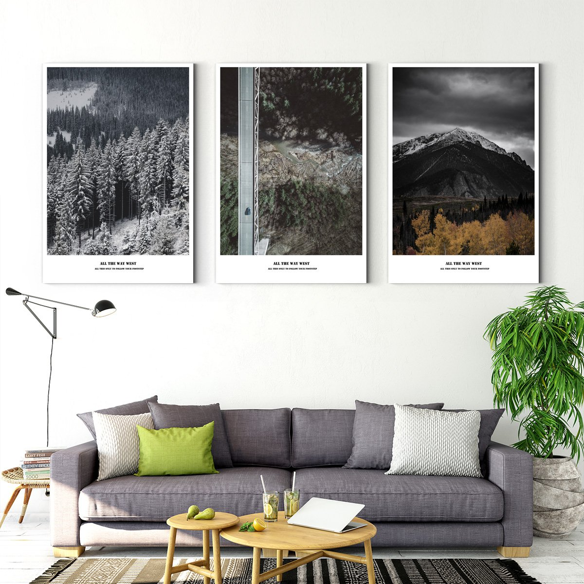 Photo - white border painting - landscape painting - living room - Multi Panel Wall Art