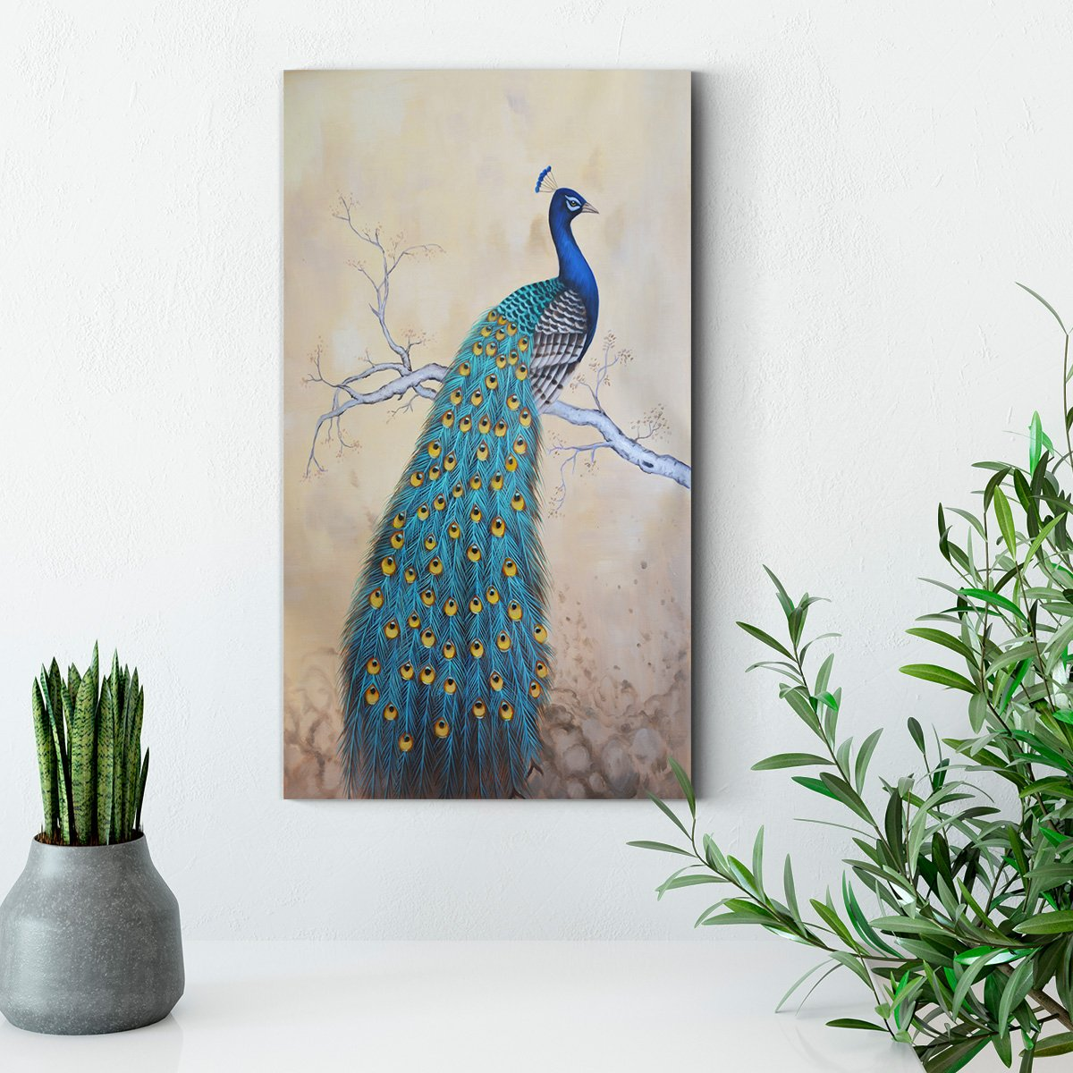 Blue peacock and tree - animal decoration painting - living room