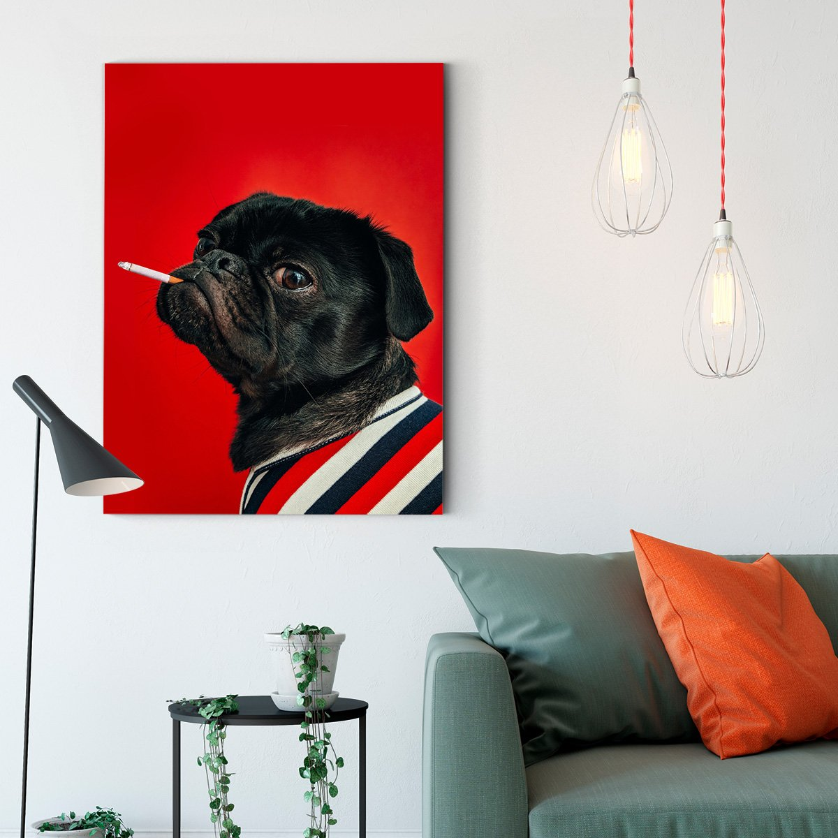 Red background dog - animal decoration painting - living room