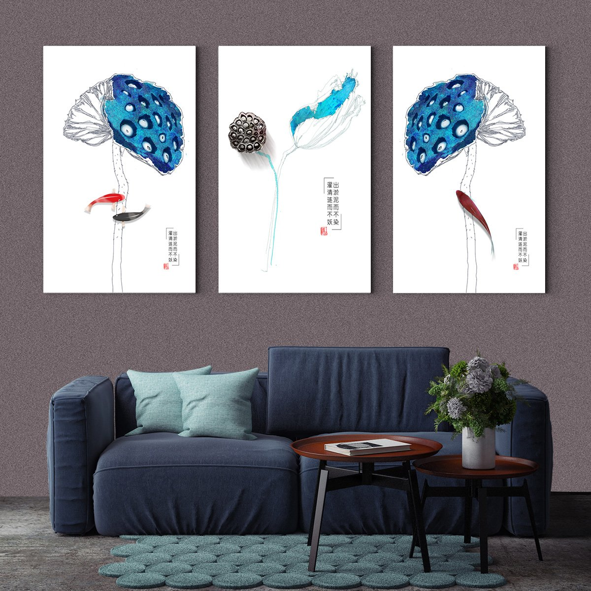 New Chinese ink lotus - abstract decorative painting - living room - Multi Panel Wall Art