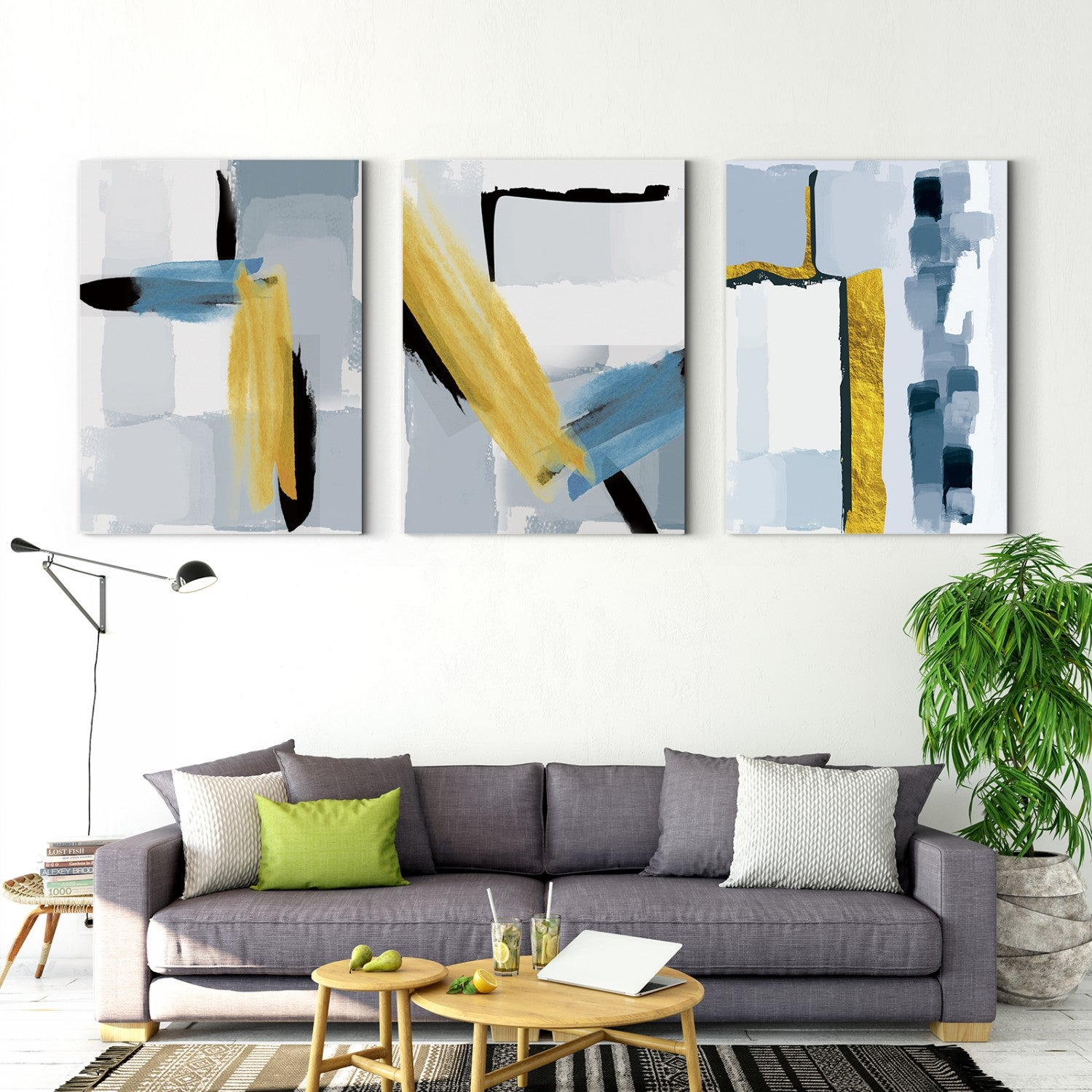 Gray and blue shades of gold light luxury minimalist abstract style Multi Panel Stretched Canvas 60