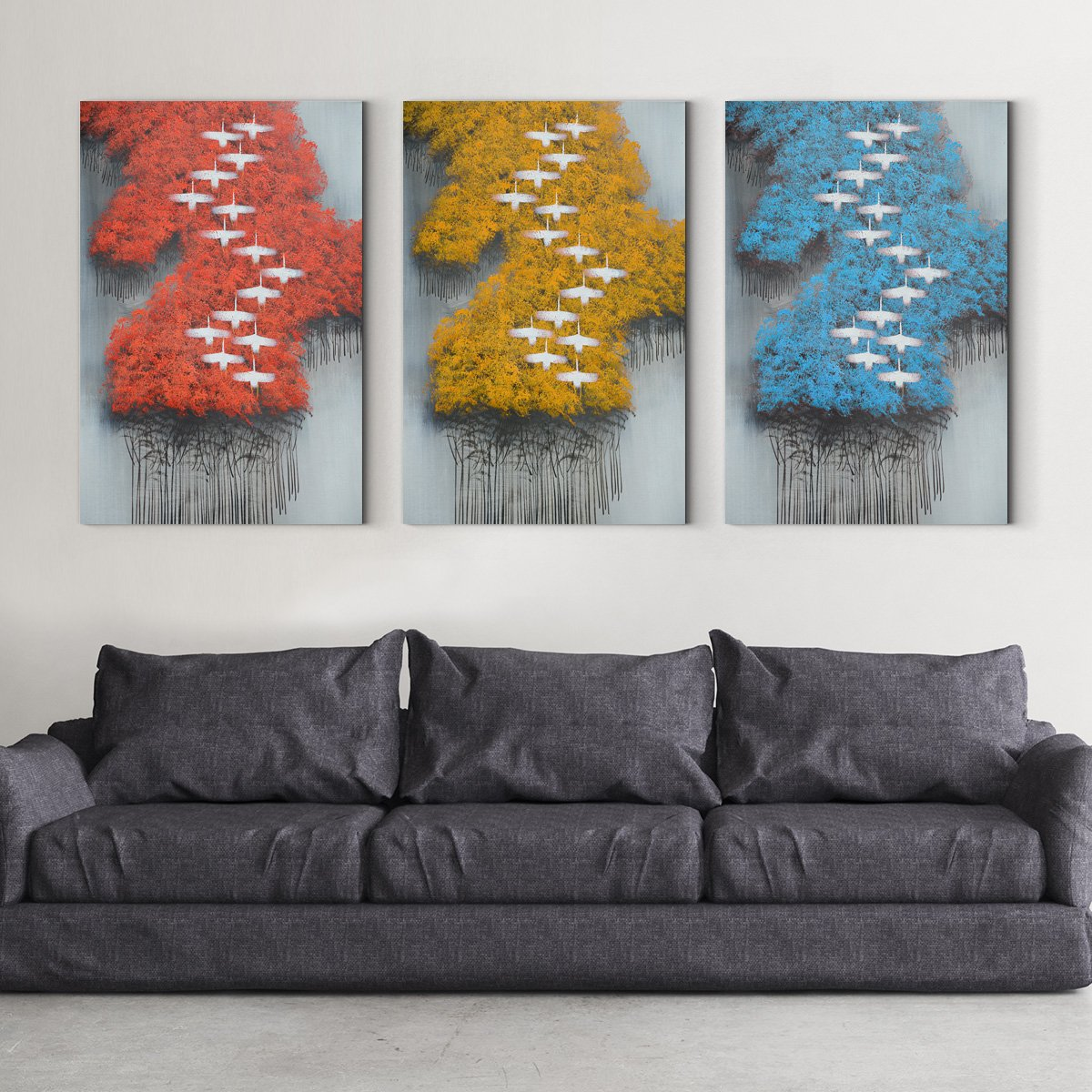 Wild goose forest - abstract adornment picture - sitting room - Multi Panel Wall Art