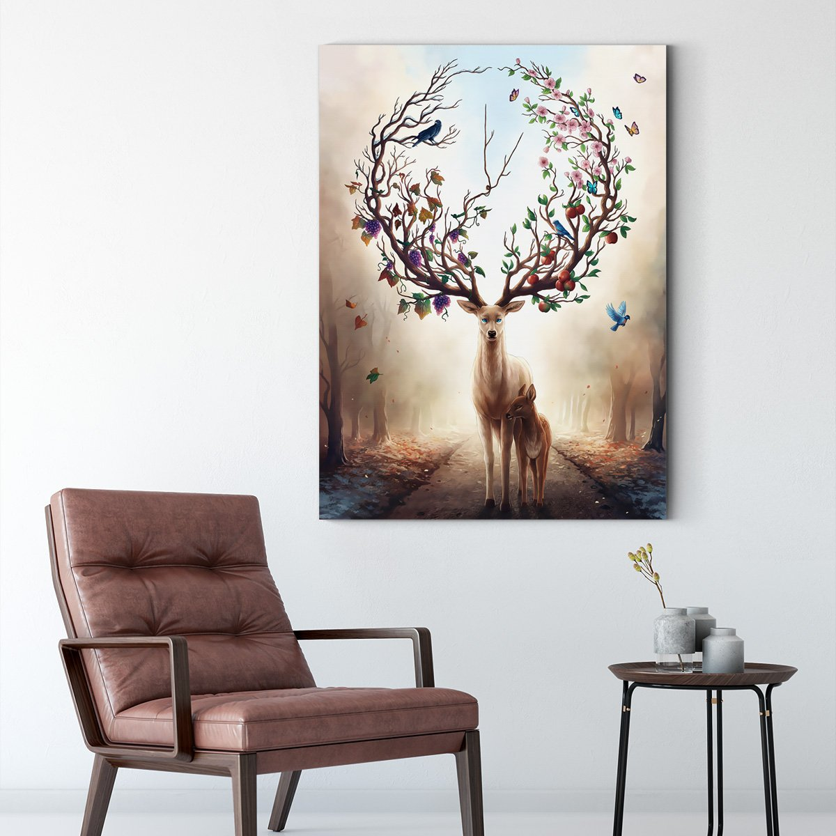 Fantasy moose - abstract decorative painting - living room