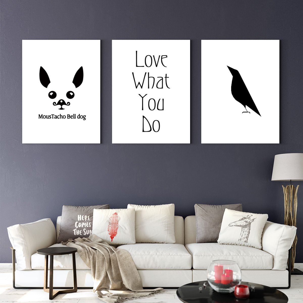 Contemporary black and white animals - abstract adornment draws for bedroom
