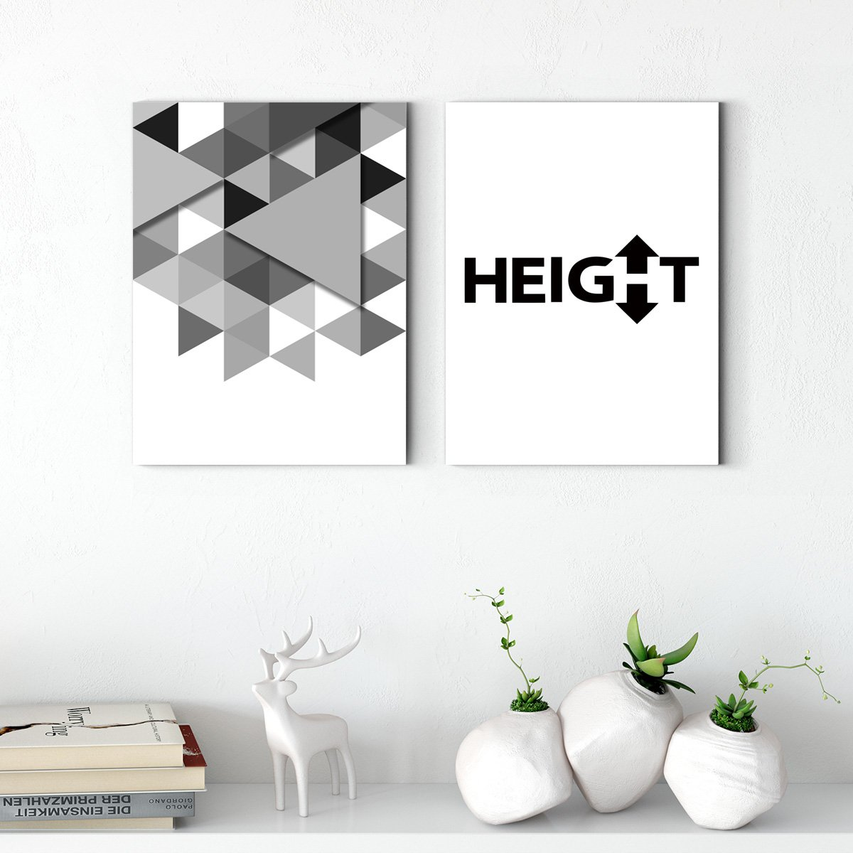 Modern black and white - abstract decorative painting - living room double A
