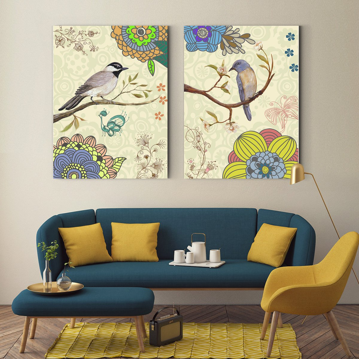 Colorful Bird Animal decoration painting - living room double B