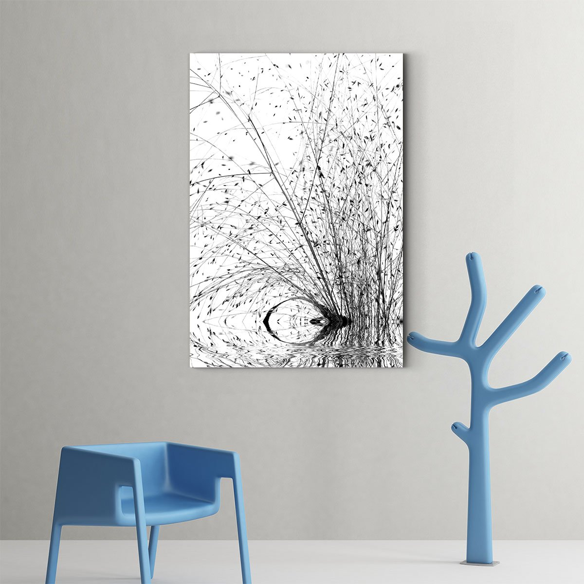 Bare branches black and white decorative painting 007