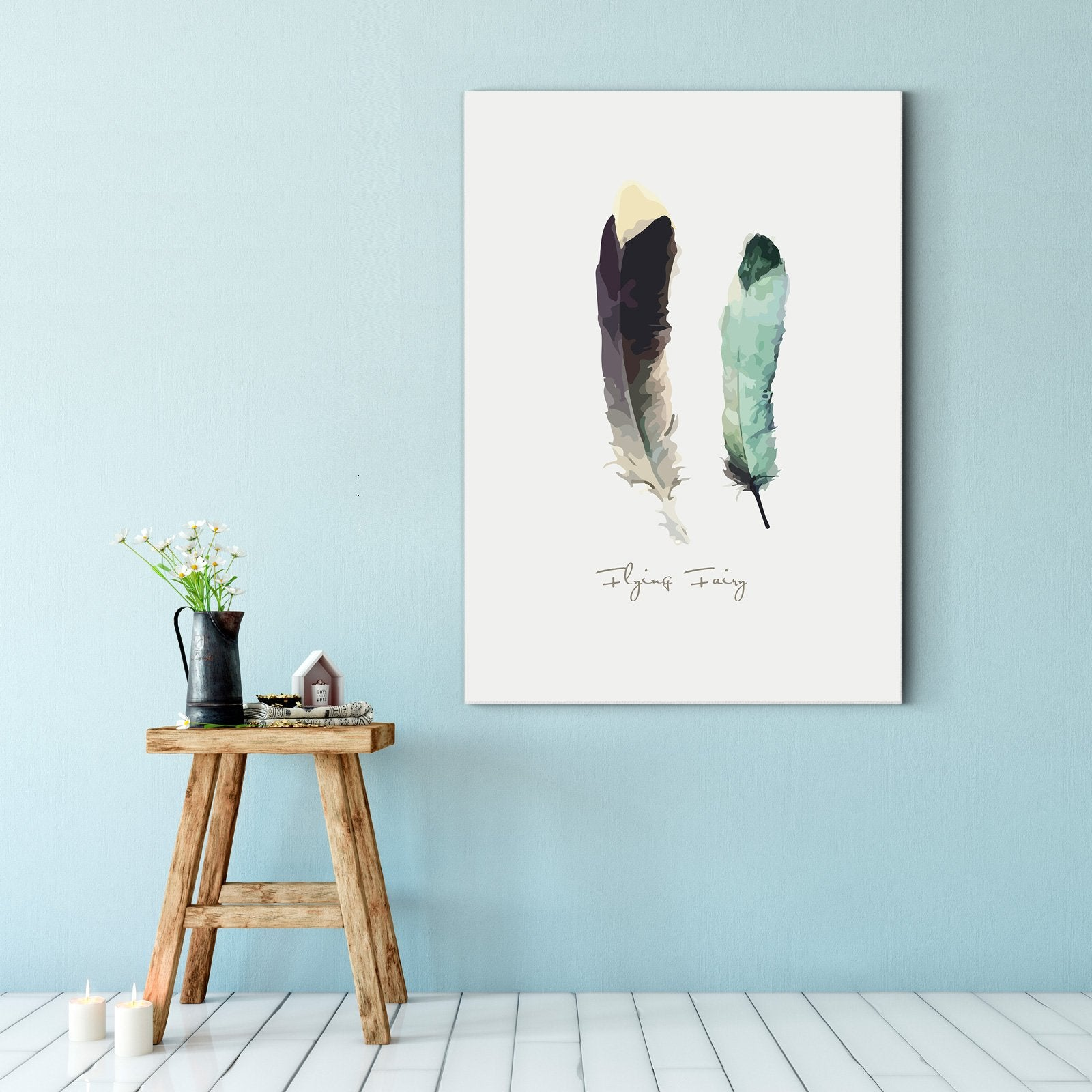 Contracted and lovely wind - abstract adornment draws - sitting room - feather