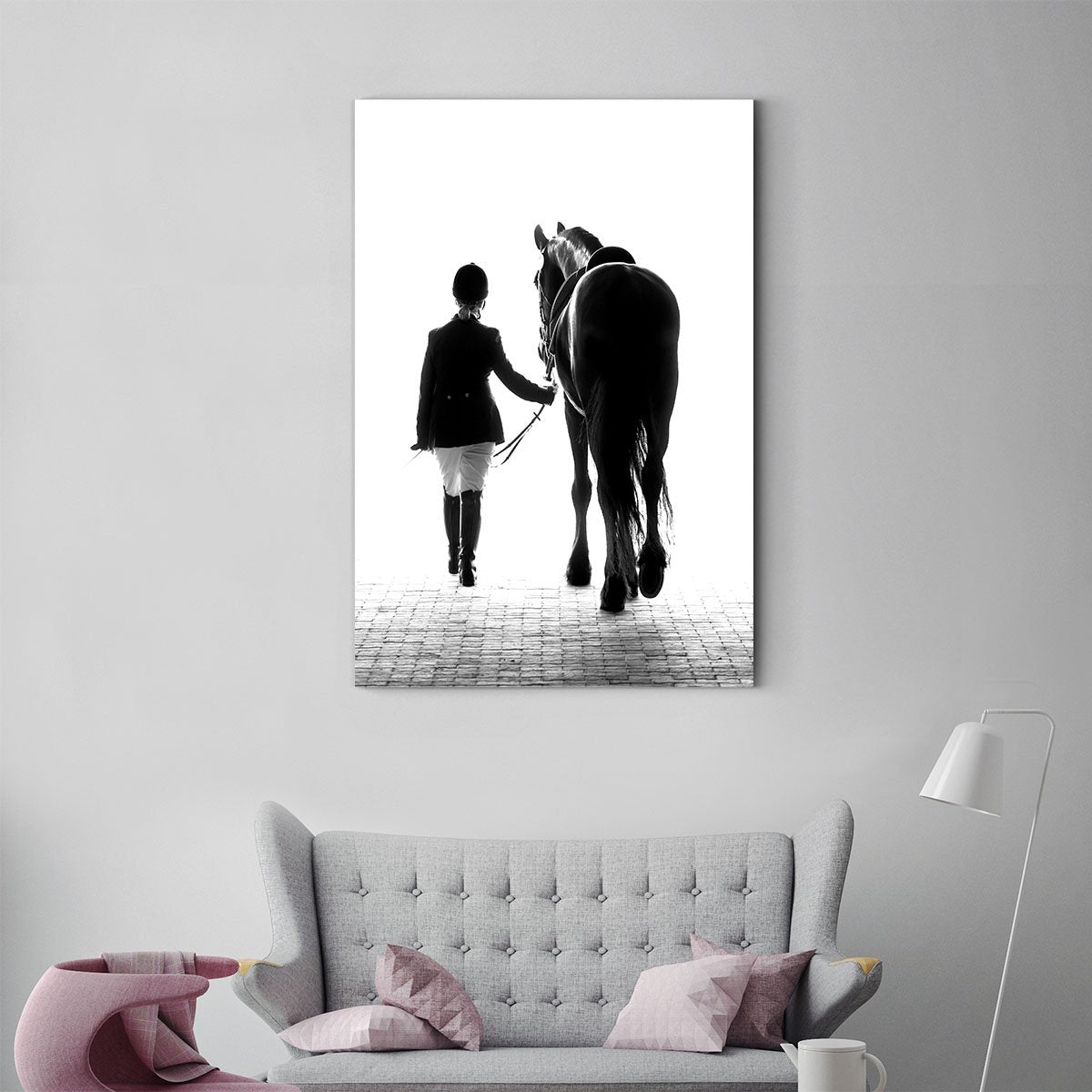 Girl holding horse black and white decorative painting 041