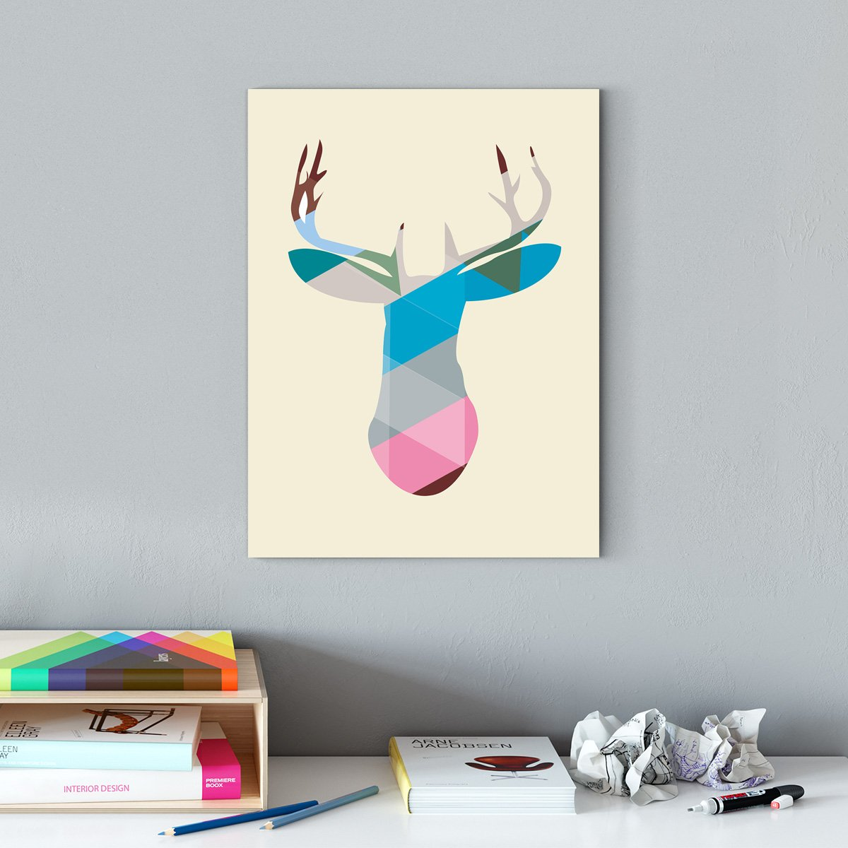 Simple and lovely wind - abstract decorative painting - living room - colorful block deer