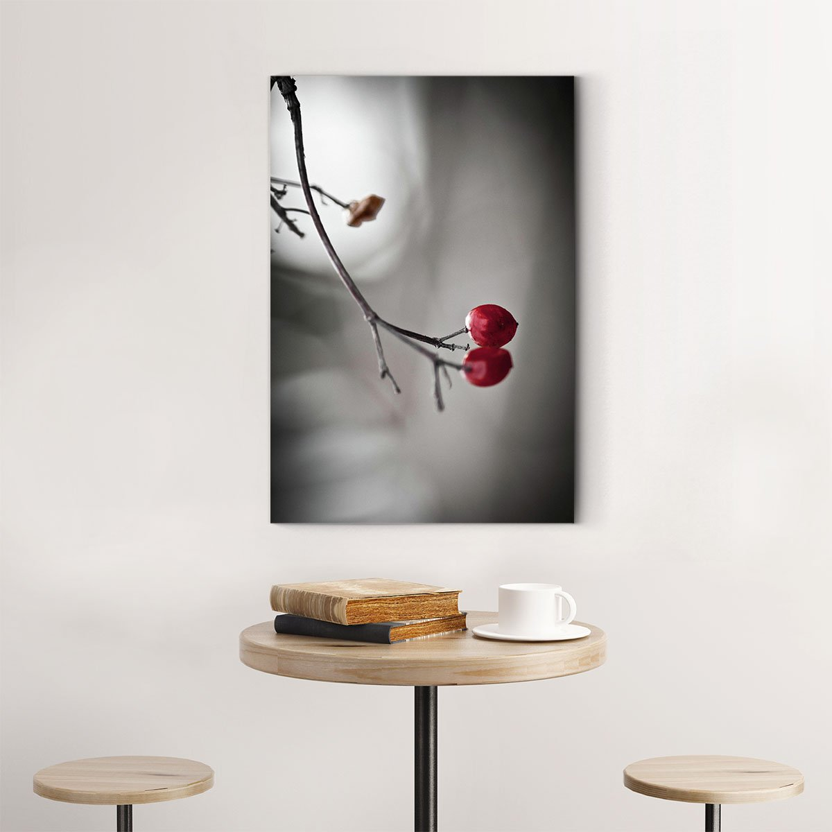 Red fruit black and white decorative painting 040