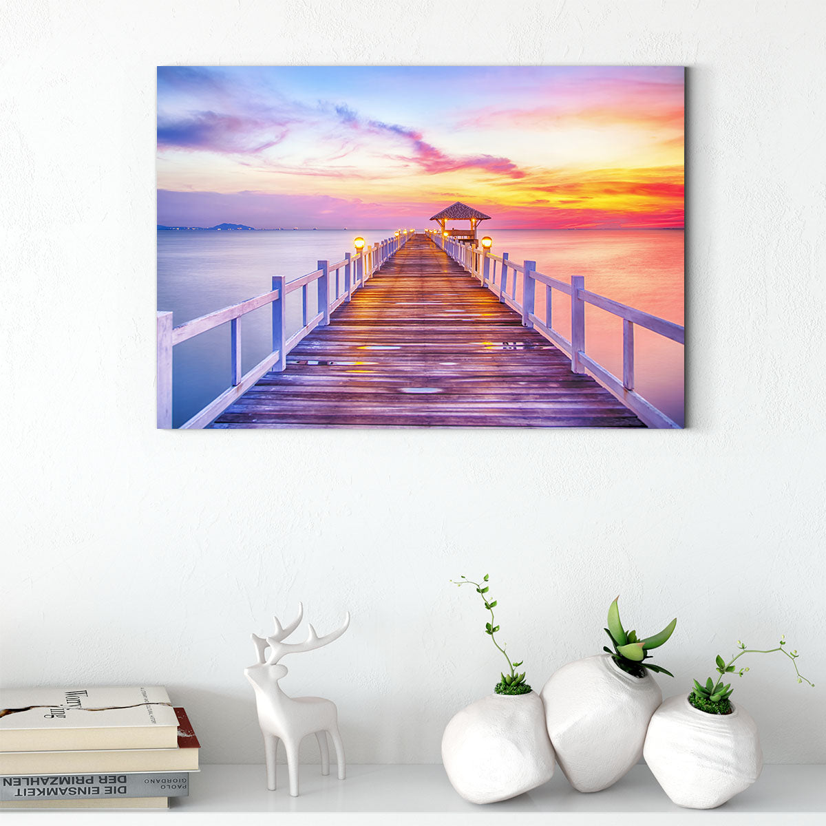 The multi-colored sky at seaside pier Decorating Print 297